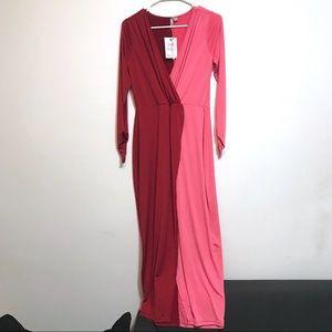 4457025c040 ASOS Dresses - NWT ASOS Wrap Maxi Dress Red Pink 10 Color Block